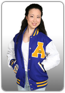 Student wearing a custom-made TM Athletics jacket.
